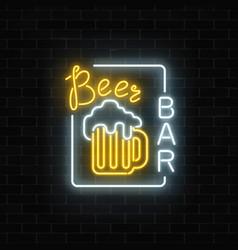 glowing neon beer pub signboard in rectangle vector image