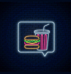 glowing neon sign burger and soda drink cup in vector image
