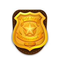 Gold realistic police detective badge with vector