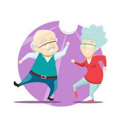 grandma and grandpa have fun and dance at disco vector image