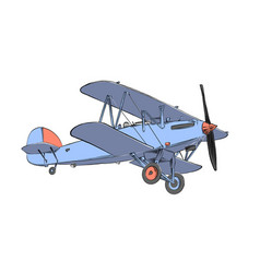 Hand drawn sketch biplane aircraft in color vector