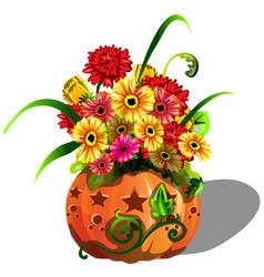 Handmade autumn decor of fresh flowers gerbera in vector