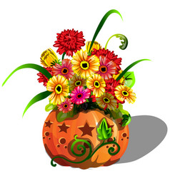 Handmade autumn decor of fresh flowers gerbera vector