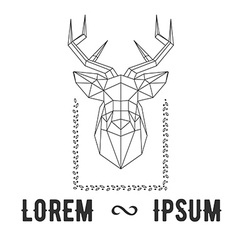 Hipster logo with silhouette of polygonal deer and vector