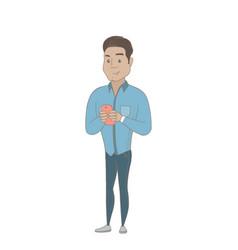 Hispanic businessman holding a mobile phone vector