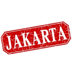 Jakarta red square grunge retro style sign vector