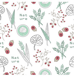 leaves and buds collection-nature spirit seamless vector image