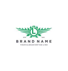 Letter l leaf wing logo design concept vector