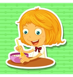Little girl eating on the dining table vector