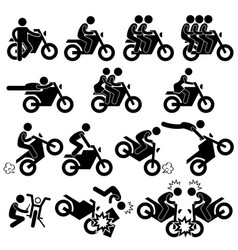Motorcycle motorbike motor bike stunt man vector