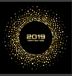 new year 2019 card background gold confetti vector image
