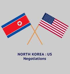 north korea and united states flags crossed vector image