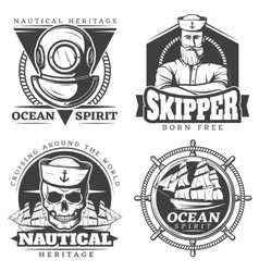 Old Tattoo Sailor Naval Label Set vector image