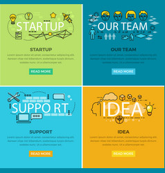 Our team startup and idea support web poster vector