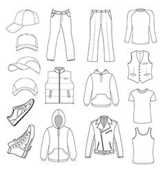 Outlined menswear headgear shoes season collectio vector image