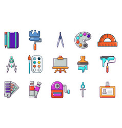 paint tools icon set cartoon style vector image