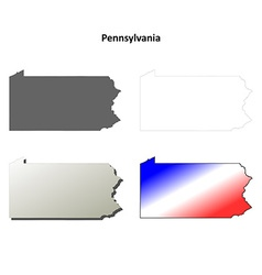 Pennsylvania outline map set vector