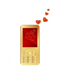 phone and hearts vector image