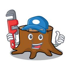 plumber tree stump mascot cartoon vector image