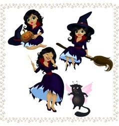 Pretty cartoon witch with imp isolated on white vector