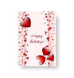 Rectangular brochure with scarlet hearts vector
