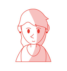 Red shading silhouette cartoon half body woman vector