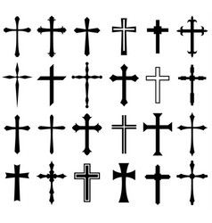 Religion cross icon set vector
