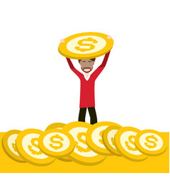rich man holding dollar coin on gold money stack vector image