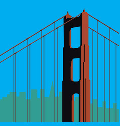 san francisco golden gate bridge tower vector image