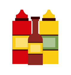 Sauce or condiment bottles fast food icon image vector