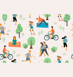 Seamless pattern with active young people vector