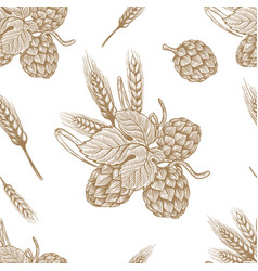 seamless pattern with hand drawn beer hop design vector image