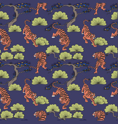 Seamless pattern with tigers in japanese style vector