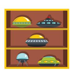 set flat cartoon shelf with ufo vector image