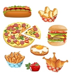 set of fast food products vector image