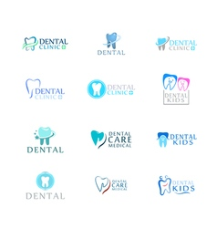 Set of logos dental care clinic dentistry for kids vector