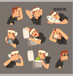 Sick man with a bandaged head with a headache set vector