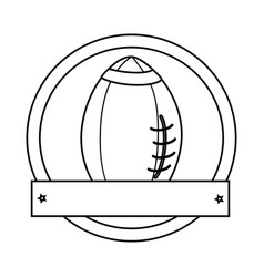 Silhouette circular border with football ball and vector