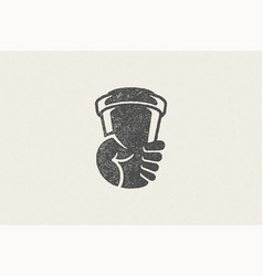 Silhouette human hand carrying takeaway cup vector