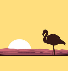 Silhouette of flamingo scene at sunset vector