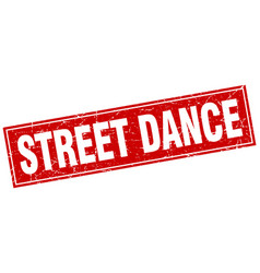 Street dance red square grunge stamp on white vector