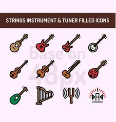 string instrument icon set outline filled icons vector image
