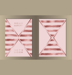 Stripe pink gold foil cover set vector
