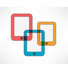 Three colored ipads vector image