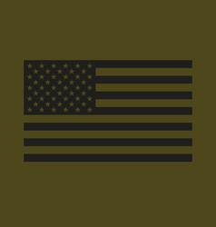 Usa flag black on military olive drab vector