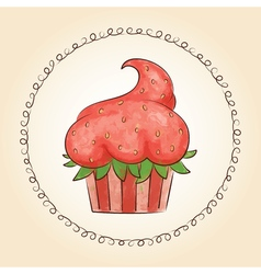 watercolor cupcake look like strawberry vector image