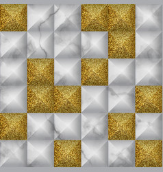 White and gold glitter marble 3d geometric vector