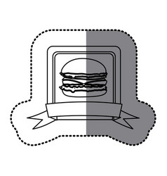 White emblem hamburger fast food icon vector