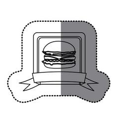 white emblem hamburger fast food icon vector image