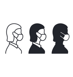 Woman profile face in medical mask icon on white vector
